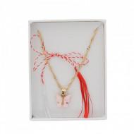 Lantisor Dama cu fluturas roz - auriu COL141