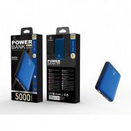 Acumulator extern 5000Mah 2A 2Usb, albastru, PMTF360073