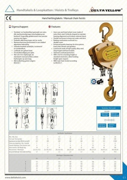 Poze Palan manual cu lant 10 tone, lungime: 3 metri
