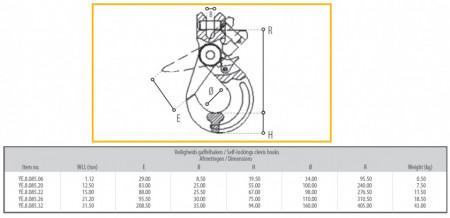 Poze Carlig cu autoblocare pt lant 22 mm 15 to gr. 80