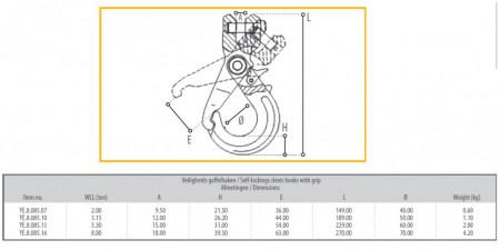 Poze Carlig cu autoblocare pt lant 16 mm 8 to gr. 80