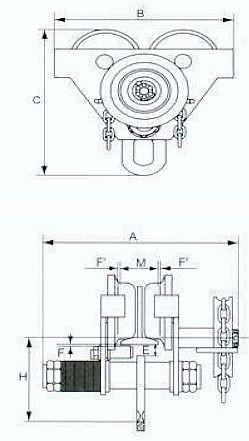 Poze Carucior port-palan pe lant 0.5 tone, lungime: 3 metri