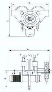 Carucior port-palan pe lant 1 tona, lungime: 3 metri
