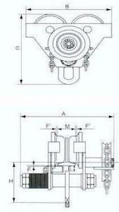 Carucior port-palan pe lant 2 tone, lungime: 3 metri