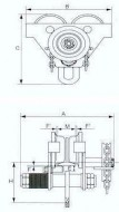 Carucior port-palan pe lant 3 tone, lungime: 3 metri