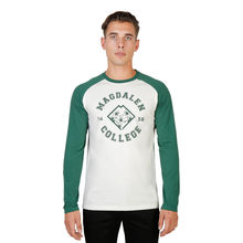 Tricouri Oxford University MAGDALEN-RAGLAN-ML-GREEN