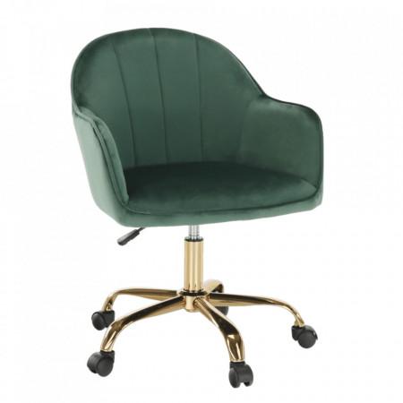 Fotoliu de birou, verde material Velvet /auriu, EROL