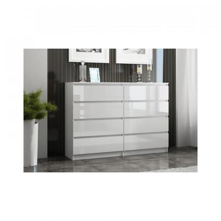 TECO23 - Comoda 138 cm, cu 8 sertare pentru dormitor, living, dining, birou - Alb-Lucios