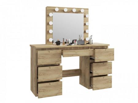 MBMTAR1 - Set Masa toaleta, 120 cm, cosmetica machiaj, masuta vanity, oglinda cu LED-uri - Culoarea Stejar