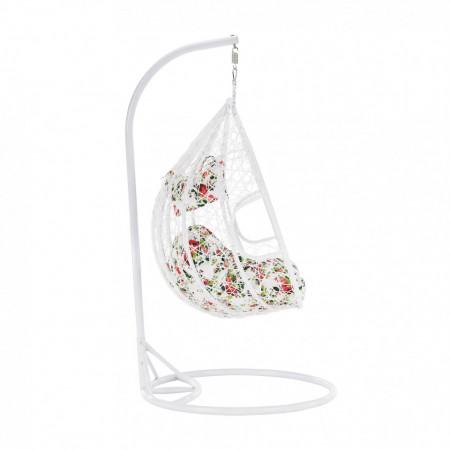 Scaun agăţat dublu, alb/model floral, DALVEA NEW