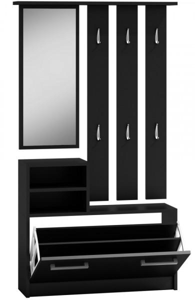 TECUIN101 - Set Cuier hol 85 x 24 x 160 cm - Negru-Mat