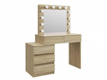 MBMTS12 - Set Masa toaleta, 112 cm, cosmetica machiaj, masuta vanity, oglinda cu LED-uri - Sonoma