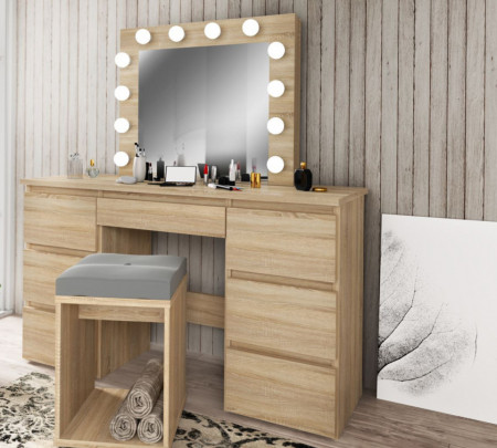 MBMTS1 - Set Masa toaleta, 120 cm, cosmetica machiaj, masuta vanity, oglinda cu LED-uri - Sonoma