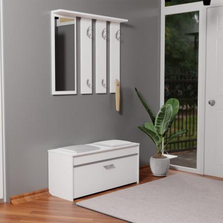 TECUIA102 - Set Cuier hol 100 x 38 x 180 cm - Alb-Mat
