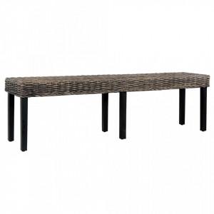 Banca, negru, 160 cm, ratan kubu natural si lemn masiv de mango - V285794V