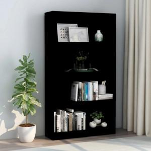 Biblioteca cu 4 rafturi, negru, 80 x 24 x 142 cm, PAL - V800910V