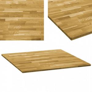 Blat de masa, lemn masiv de stejar, patrat, 23 mm, 80x80 cm - V245988V