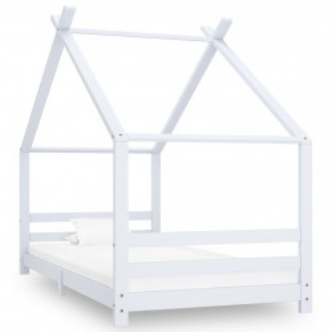 Cadru pat de copii, alb, 90 x 200 cm, lemn masiv de pin - V289612V