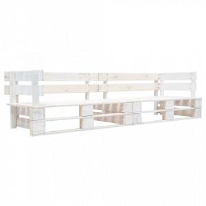 Canapea de gradina cu 2 locuri din paleti, alb, lemn - V277383V