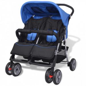 Carucior dublu pentru copii, albastru si negru, otel - V10109V