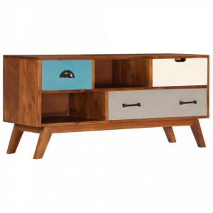 Comoda TV cu 3 sertare, 110x35x50 cm, lemn masiv acacia - V247936V