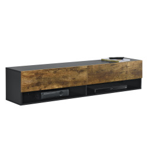 Comoda TV Halmstad SED, 140 x 31 x 30 cm, PAL melaminat, negru/efect stejar inchis, cu 2 usi si 2 rafturi, montabila pe perete - P73294037