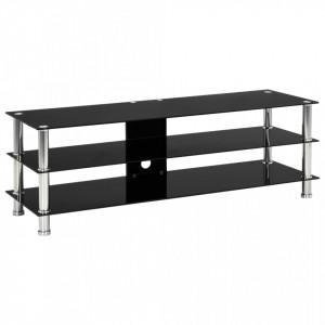 Comoda TV, negru, 120x40x40 cm, sticla securizata - V280091V