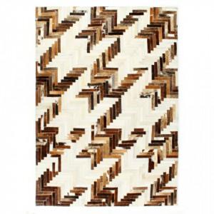 Covor din piele cu par natural, petice, maro/alb, 160 x 230 cm - V134397V