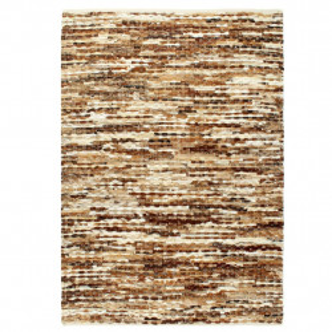 Covor din piele naturala cu par, maro/alb, 160 x 230 cm - V134409V