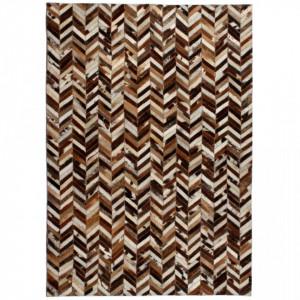 Covor piele naturala, mozaic, 190x290 cm Zig-zag Maro/alb - V132605V