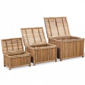 Cutii de depozitare 3 buc, bambus - V242495V