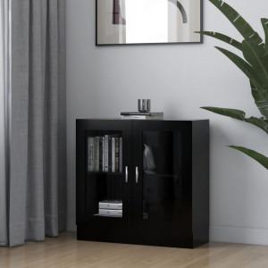 Dulap cu vitrina, negru, 82,5 x 30,5 x 80 cm, PAL - V802742V