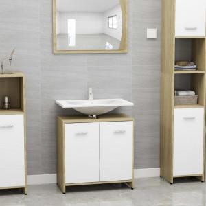 Dulap de baie, alb si stejar Sonoma, 60 x 33 x 58 cm, PAL - V802575V