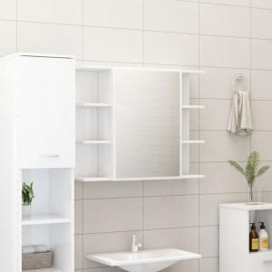 Dulap de baie cu oglinda, alb extralucios, 80x20,5x64 cm, PAL - V802612V