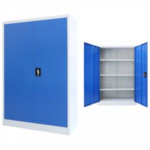 Dulap de birou, metal, 90 x 40 x 140 cm, gri si albastru - V245977V