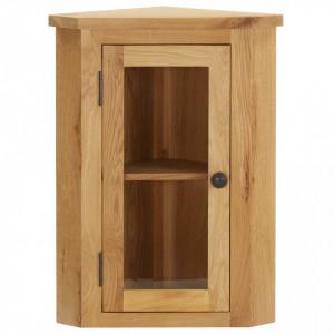 Dulap de colt suspendat, 45x28x60 cm, lemn masiv de stejar - V289203V