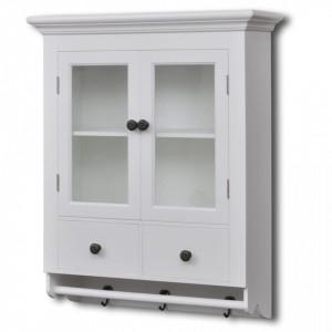 Dulap de perete pentru bucatarie, cu usa din sticla, lemn, alb - V241374V