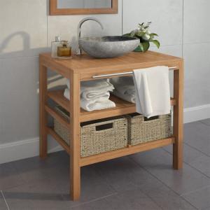 Dulap de toaleta, lemn masiv de tec, chiuveta din piatra de rau - V246498V