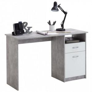 FMD Birou cu 1 sertar, gri beton si alb, 123 x 50 x 76,5 cm - V428738V