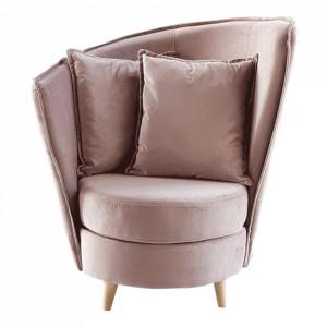 Fotoliu Art Deco, stofă roz Kronos / fag, ROUND NEW