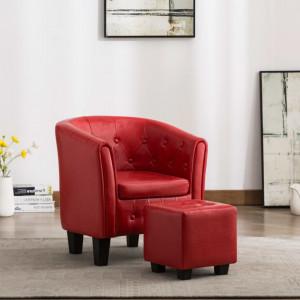 Fotoliu cu taburet, rosu, piele ecologica - V248050V