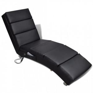 Fotoliu de masaj, negru, piele ecologica - V240968V