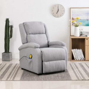 Fotoliu de masaj rabatabil, gri deschis, material textil - V248698V