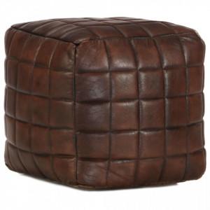 Fotoliu puf, maro inchis, 40x40x40 cm, piele naturala de capra - V248136V