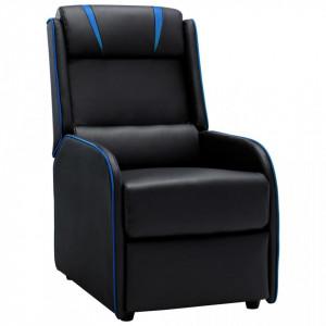 Fotoliu rabatabil, negru si albastru, piele ecologica - V320171V