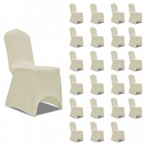Huse elastice pentru scaun, 24 buc., crem - V3051642V