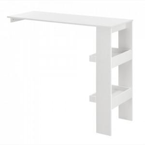 Masa bar Bromolla W, 120 x 45 x 106 cm, PAL/melamina, alb, cu doua rafturi, montabila pe perete - P73294011