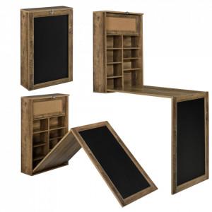 Masa birou Flavia,156 x 50 x 91,5 cm, MDF, culoarea lemnului, rabatabila, cu tabla integrata pentru scris si compartimente depozitare, economie spatiu - P65373531