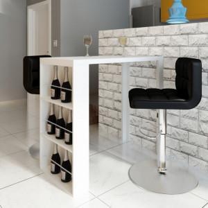 Masa de bar din MDF, cu suport pentru sticle de vin, alb lucios - V240820V