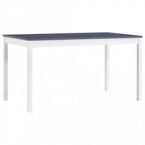 Masa de bucatarie, alb si gri, 140 x 70 x 73 cm, lemn de pin - V283400V